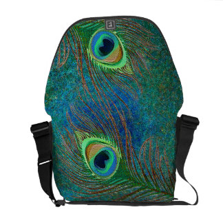Peacock feathers starts pattern messenger bags