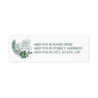 Peacock Feathers Succulents Holiday Address Labels