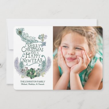 Peacock Feathers Succulents Holiday Photo Card