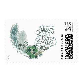 Peacock Feathers Succulents Holiday Postage