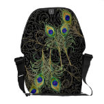 Peacock Feathers Swirl Damask Trendy Chic Pattern Messenger Bags