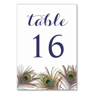 Peacock Feathers Table Number Card Table Cards