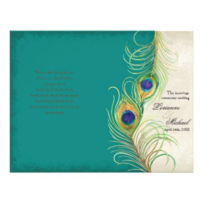 Peacock Feathers - Teal, Wedding Program