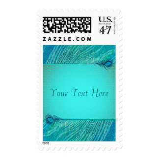 Peacock feathers template postage