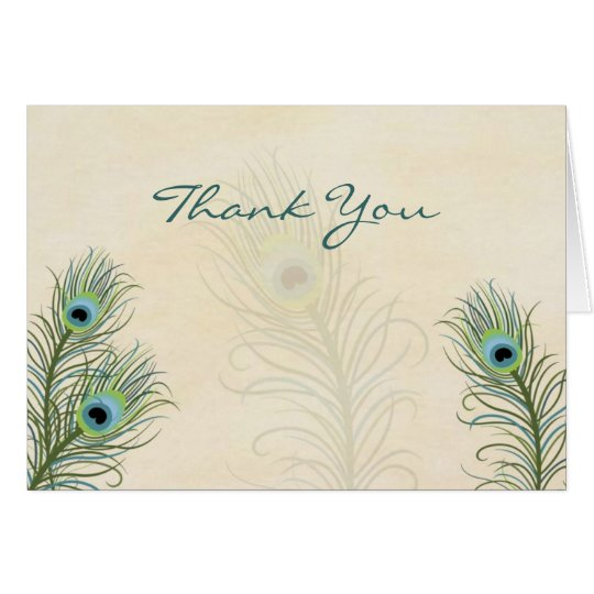 Peacock Feathers Thank You Wedding card