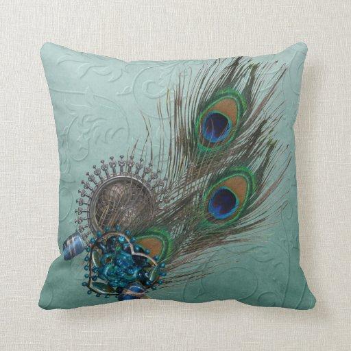 Throw Pillows Peacock : Peacock Feathers Throw Pillows Zazzle