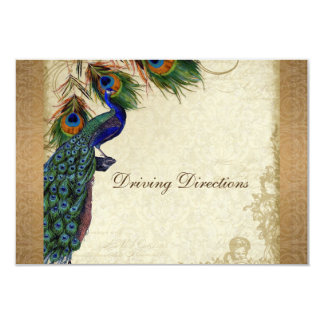 Peacock & Feathers Vintage Gold Look Damask  Swirl 3.5x5 Paper Invitation Card