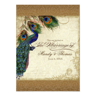 Peacock & Feathers Vintage Gold Look Damask  Swirl 5.5x7.5 Paper Invitation Card
