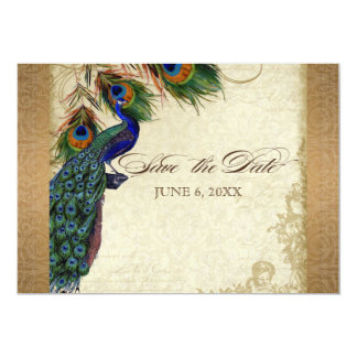 Peacock & Feathers Vintage Gold Look Damask  Swirl 5x7 Paper Invitation Card