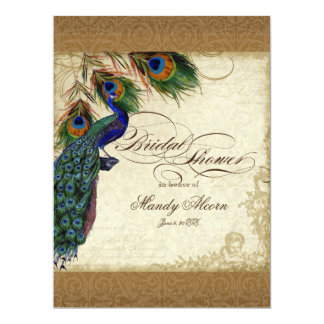 Peacock & Feathers Vintage Gold Look Damask  Swirl 6.5x8.75 Paper Invitation Card