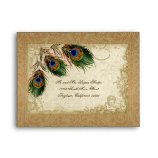 Peacock & Feathers Vintage Gold Look Damask  Swirl Envelopes