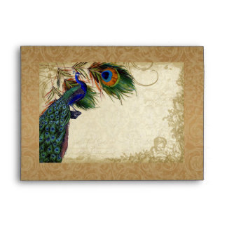 Peacock Feathers Vintage Gold Look Damask Swirl Envelope