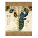 Peacock & Feathers Vintage Gold Look Damask  Swirl Flyer