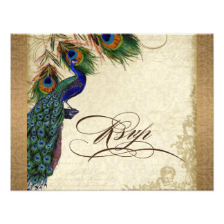 Peacock & Feathers Vintage Gold Look Damask  Swirl Personalized Invites