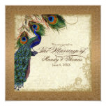 Peacock & Feathers Vintage Gold Look Damask  Swirl Invitation