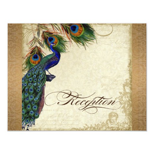 Peacock & Feathers Vintage Gold Look Damask  Swirl 4.25x5.5 Paper Invitation Card