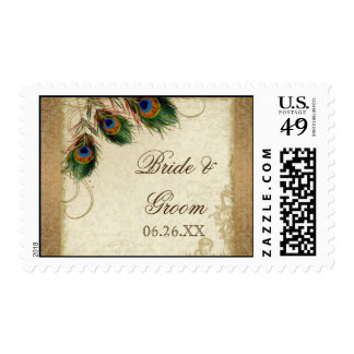 Peacock Feathers Vintage Gold Look Damask Swirl Postage