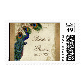 Peacock & Feathers Vintage Gold Look Damask  Swirl Stamp