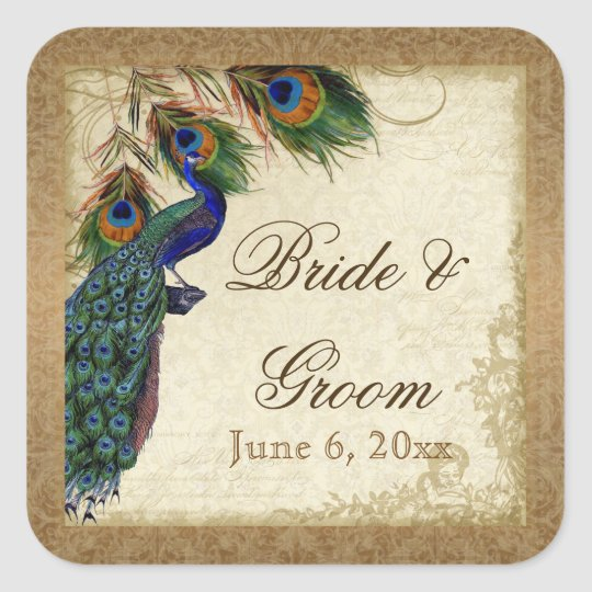 Peacock & Feathers Vintage Gold Look Damask  Swirl Square Sticker