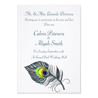 Peacock Feathers Wedding Card