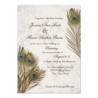 Peacock Feathers Wedding 5x7 Paper Invitation Card