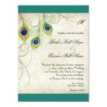 "Peacock Feathers Wedding Invitation 5.5"" X 7.5"" Invitation Card"