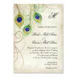 "Peacock Feathers Wedding Invitation 5"" X 7"" Invitation Card"