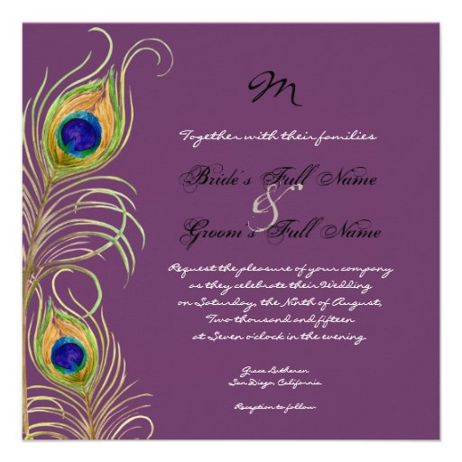 Peacock Feathers Wedding Invitation 525 Square Invitation Card