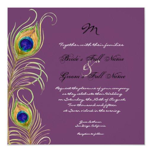 "Peacock Feathers Wedding Invitation 5.25"" Square Invitation Card"