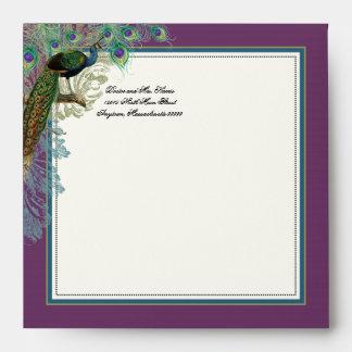 Peacock Feathers Wedding Invitation Envelope
