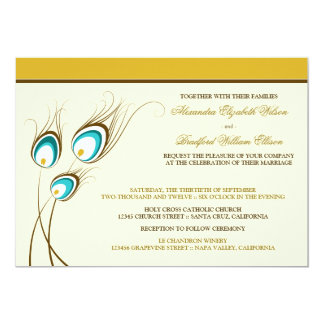 Peacock Feathers Wedding Invitation (yellow)