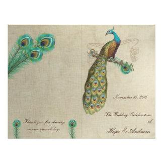 Peacock Feathers Wedding Program 3 Flyers