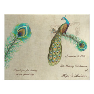 Peacock Feathers Wedding Program 5