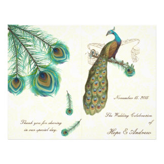Peacock Feathers Wedding Program on Damask