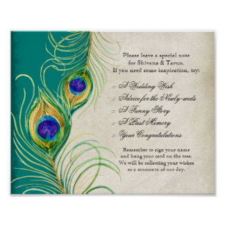 Peacock Feathers Wedding Reception Sign