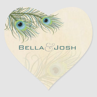 Peacock Feathers Wedding Stickers