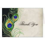 Peacock Feathers Wedding Thank You Note Cards