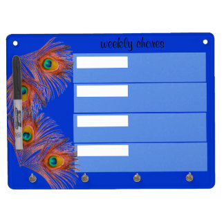 Peacock Feathers Weekly Chores Dry Erase Board