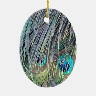 Peacock Feathers Wild Colors Ceramic Ornament