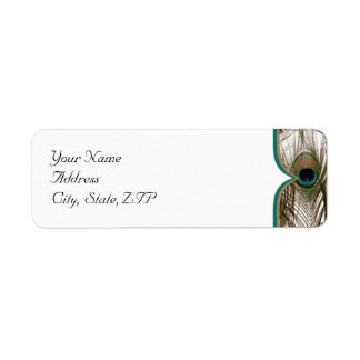 Peacock Feathers with a Double Frame Return Address Label
