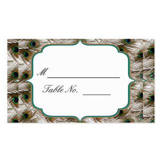 Peacock Feathers with a Double Frame: Place Card Business Card