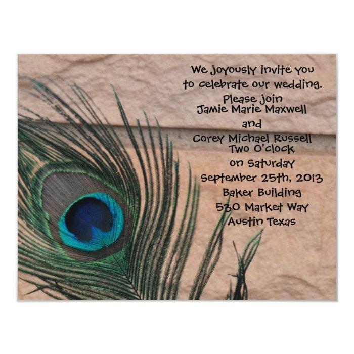 Peacock Feathers with Bricks Wedding Card