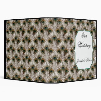 Peacock Feathers with Double Frame Wedding Album 3 Ring Binder