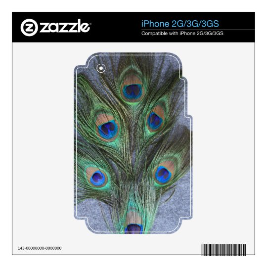 Peacock Feathers with Grey Background iPhone 3 Skin