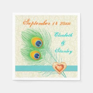 Peacock feathers with orange jewel heart wedding napkin