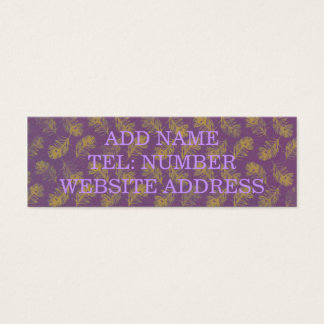 Peacock Feathers Yellow with Purple Mini Business Card