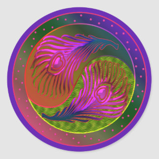 Peacock Feathers Yin Yang 2 Classic Round Sticker