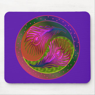 Peacock Feathers Yin Yang 2 Mouse Pad