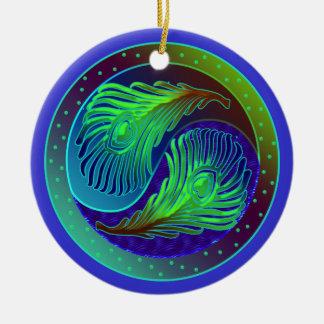 Peacock Feathers Yin Yang Ornament