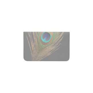 Peacock Feathet on Gray Business Card Holder